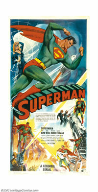 "Superman (Columbia, 1948). Three Sheet (41"" X 81"").After almost ten years Columbia studios was able to negotia..."