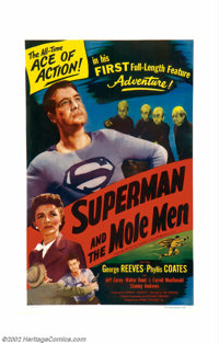 """Superman and the Mole Men (Lippert, 1951). One Sheet (27"""" X 41"""") George Reeves played the Man of Steel from 19..."""