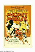 "Movie Posters:Animated, Mickey's Nightmare (United Artists, 1932). One Sheet (27"" X 41"").This is one of two known copies of this early Mickey Mouse..."