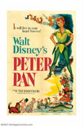 "Movie Posters:Animated, Peter Pan (RKO, 1953). One Sheet (27"" X 41""). Walt Disney's classiccartoon based on the James Barrie children's story was p..."