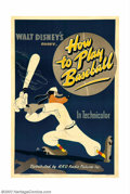 "Movie Posters:Animated, How To Play Baseball (RKO, 1942). One Sheet (27"" X 41""). Thelovable Goofy made a major splash with the ""How To"" series and,..."