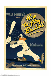 """How To Play Baseball (RKO, 1942). One Sheet (27"""" X 41""""). The lovable Goofy made a major splash with the """"..."""