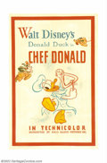 """Movie Posters:Animated, Chef Donald (RKO, 1941). One Sheet (27"""" X 41""""). Early Donald Duckposters such as this example are rare. This cartoon short ..."""