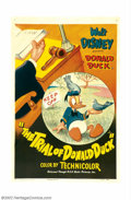 "Movie Posters:Animated, Trial of Donald Duck, The (RKO, 1948). One Sheet (27"" X 41"").Donald ""ducks"" into a swanky restaurant to get out of the rain..."