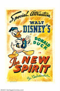 "Movie Posters:Animated, New Spirit (RKO, 1942). One Sheet (27""X41""). Donald Duck stars inthis World War II era cartoon obviously backing the countr..."