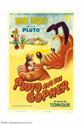 "Movie Posters:Animated, Pluto and the Gopher (RKO, 1950). One Sheet (27"" X 41""). Plutobattles a pesky gopher and as always the gopher gets the bett..."