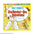 "Movie Posters:Animated, One Hundred and One Dalmations (Buena Vista, 1961). Six Sheet (81""X 81""). Now regarded as a true Disney classic, ""101 Dalma..."