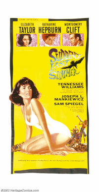 """Suddenly Last Summer (Columbia, 1960). Three Sheet (41"""" X 81""""). By the end of the 1950s, many of Tennessee Wil..."""