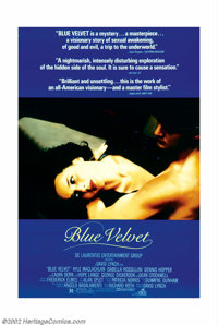 "Blue Velvet (DeLaurentis, 1986). One Sheet (27"" X 41""). David Lynch, already a master of the unusual with film..."