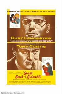 """Sweet Smell of Success (United Artists, 1957). One Sheet (27"""" X 41""""). Ernest Lehman and Clifford Odets dark st..."""