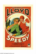 "Movie Posters:Comedy, Speedy (Paramount, 1928). One Sheet (27"" X 41""). Harold Lloyd, oneof silent cinema's greatest comedic talents, is a delight..."