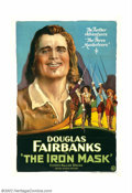 "Movie Posters:Adventure, Iron Mask, The (United Artists, 1929). One Sheet (27"" X 41"").Douglas Fairbanks, one of the brightest stars in Hollywood and..."