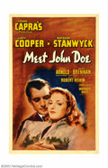 """Movie Posters:Drama, Meet John Doe (Warner Brothers, 1941). One Sheet (27"""" X 41""""). Frank Capra's social commentary starring Barbara Stanwyck and ..."""