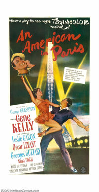 """An American In Paris (MGM, 1951). Three Sheet (41"""" X 81""""). Vincent Minnelli's musical extravaganza swept the O..."""