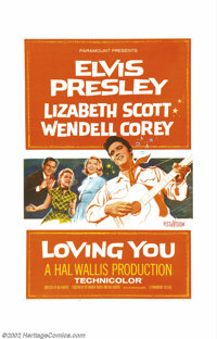 """Loving You (Paramount, 1957). One Sheet (27"""" X 41""""). Elvis' character climbs his way to the top in this story..."""