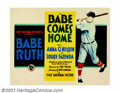 "Movie Posters:Sports, Babe Comes Home, The (First National, 1927). Title Card (11"" X14""). The young Babe Ruth starred in only a few short films a..."