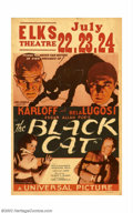 "Movie Posters:Horror, Black Cat, The (Universal, 1934). Window Card (14"" X 22""). Boris Karloff and Bela Lugosi are teamed for the first time in th..."