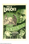"Movie Posters:Horror, Devil Bat (PRC, 1940). One Sheet (27"" X 41""). Bela Lugosi is a scientist who has been cheated out of profits for his inventi..."