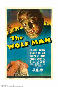 "Wolf Man, The (Universal, 1941). One Sheet (27"" X 41""). ""Even a man who is pure in heart and says his pra..."
