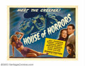 "Movie Posters:Horror, House of Horrors (Universal, 1946). Half Sheet (22"" X 28"").Rondo Hatton as The Creeper, claims another victim! Hatton portra..."