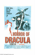 """Movie Posters:Horror, Horror of Dracula (Warner Brothers, 1958). One Sheet (27"""" X 41""""). When this film was released there were two printings of th..."""