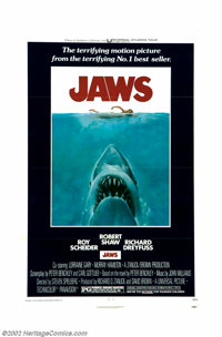 """Jaws (Universal, 1975). One Sheet (27"""" X 41""""). Steven Spielberg's breakthrough movie about a New England town..."""