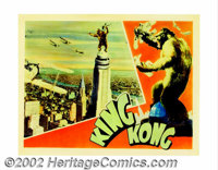 """King Kong (RKO, 1933). Lobby Card (11"""" X 14""""). Kong! The Eighth Wonder of the World stands atop the Empire Sta..."""