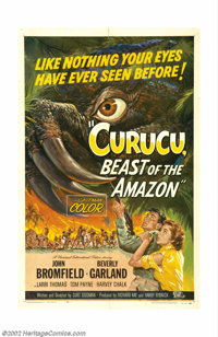 "Curucu, Beast of the Amazon (Universal International, 1956). One Sheet (27"" X 41""). This film is the stuff tha..."