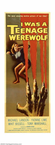 """Movie Posters:Horror, I Was a Teenage Werewolf (AIP, 1957). Insert (14"""" X 36""""). Michael Landon of """"Bonanza"""" and """"Little House on the Prairie"""" fame..."""