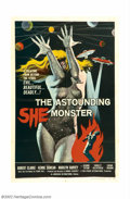 """Movie Posters:Science Fiction, Astounding She Monster (American International, 1958). One Sheet (27"""" X 41""""). Typical fifties sci-fi venture about a mysteri..."""