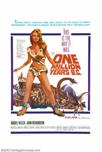 "One Million Years B.C. (20th Century Fox, 1966). One Sheet (21"" X 41""). Raquel Welch became an overnight sensa..."
