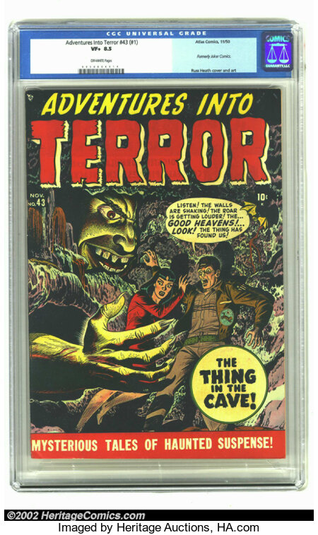 Adventures Into Terror 43 (#1) (Atlas, 1950) CGC VF+ 8.5 Off-white pages. Keeping up with all the Timely/Atlas titles in the...