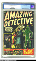Golden Age (1938-1955):Horror, Amazing Detective #13 River City pedigree (Atlas, 1952) CGC VF 8.0Off-white pages. Joe Maneely covers, like this electrocut...