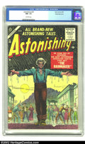 Golden Age (1938-1955):Horror, Astonishing #39 White Mountain pedigree (Atlas, 1955) CGC NM- 9.2Off-white pages. This White Mountain copy is the only repr...