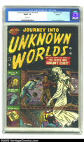 Golden Age (1938-1955):Horror, Journey into Unknown Worlds #9 Spokane pedigree (Atlas, 1952) CGCFN/VF 7.0 White pages. One of the more bizarre covers we'v...