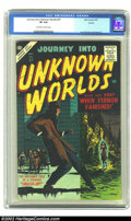 Silver Age (1956-1969):Horror, Journey into Unknown Worlds #57 (Atlas, 1957) CGC VF 8.0 Off-whiteto white pages. Joe Orlando and Doxsee art are the highli...