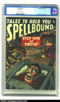 "Golden Age (1938-1955):Horror, Spellbound #1 (Atlas, 1952) CGC VF- 7.5 Cream to off-white pages.Our first impression of this book was, ""Hey, it looks like..."