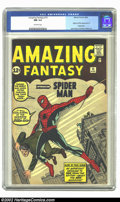 "Silver Age (1956-1969):Superhero, Amazing Fantasy #15 (Marvel, 1962) CGC NM 9.4 Off-white pages.""And so a legend is born, and a new name is added to thero..."