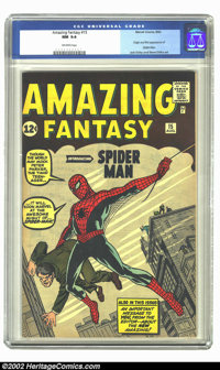 "Amazing Fantasy #15 (Marvel, 1962) CGC NM 9.4 Off-white pages. ""And so a legend is born, and a new name is added to..."