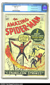 The Amazing Spider-Man #1 (Marvel, 1963) CGC NM+ 9.6 Off-white pages. This is simply a superb copy of the very first edi...