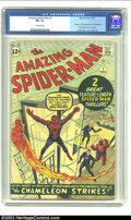Silver Age (1956-1969):Superhero, The Amazing Spider-Man #1 (Marvel, 1963) CGC FN- 5.5 Off-whitepages.The Fantastic Four look on in amazement as Spider-Man m...