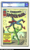 Silver Age (1956-1969):Superhero, The Amazing Spider-Man #20 (Marvel, 1965) CGC NM+ 9.6 Off-whitepages. Time after time, Stan Lee and Steve Ditko kept toppin...