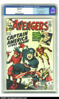Silver Age (1956-1969):Superhero, The Avengers #4 (Marvel, 1964) CGC NM 9.4 Off-white pages. Inlittle more than two years, Marvel had brought back two of its...