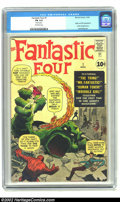 Silver Age (1956-1969):Superhero, Fantastic Four #1 (Marvel, 1961) CGC FN 6.0 Off-white pages. Thisissue is the legendary first appearance of the FF, the fir...