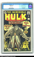 Silver Age (1956-1969):Superhero, The Incredible Hulk #1 (Marvel, 1962) CGC VF+ 8.5 Off-white to white pages. Ol' Greyskin (soon to be Ol' Greenskin, starting...