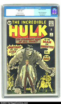 The Incredible Hulk #1 (Marvel, 1962) CGC VF+ 8.5 Off-white to white pages. Ol' Greyskin (soon to be Ol' Greenskin, star...
