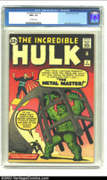 Silver Age (1956-1969):Superhero, The Incredible Hulk #6 (Marvel, 1963) CGC NM+ 9.6 Off-white pages.The last issue of Ol' Greenskin's first series with its f...