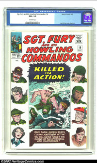 Sgt. Fury #18 (Marvel) CGC NM+ 9.6 Off-white pages. Overstreet 2002 NM 9.4 value = $80