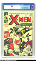 Silver Age (1956-1969):Superhero, X-Men #1 (Marvel, 1963) CGC VF- 7.5 Off-white pages. If it doesn'tlook the X-Men you know, this first version of the misund...