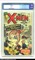 """Silver Age (1956-1969):Superhero, X-Men #6 (Marvel, 1964) CGC VF 8.0 Off-white pages. For such a""""loner"""", the Sub-Mariner seemed to be constantly teaming up w..."""
